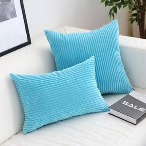 Corduroy Cushion Covers in Bright colors 17x17 24x24 Aqua