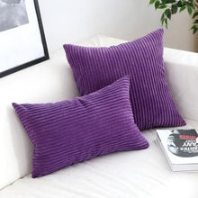 Load image into Gallery viewer, Corduroy Cushion Covers in Bright colors 17x17 24x24 Purple