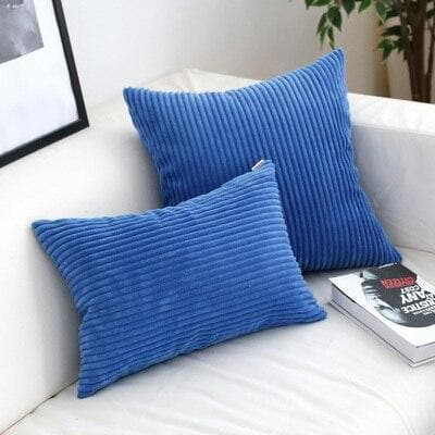Corduroy Cushion Covers in Bright colors 17x17 24x24 Cobalt