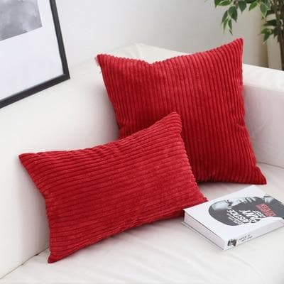 Corduroy Cushion Covers in Bright colors 17x17 24x24 Red