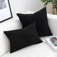 Load image into Gallery viewer, Corduroy Cushion Covers in Bright colors 17x17 24x24 Black