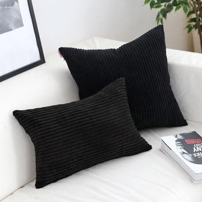 Corduroy Cushion Covers in Bright colors 17x17 24x24 Black