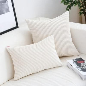 Corduroy Cushion Covers in Bright colors 17x17 24x24 White