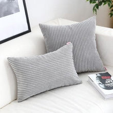 Load image into Gallery viewer, Corduroy Cushion Covers in Bright colors 17x17 24x24 Grey