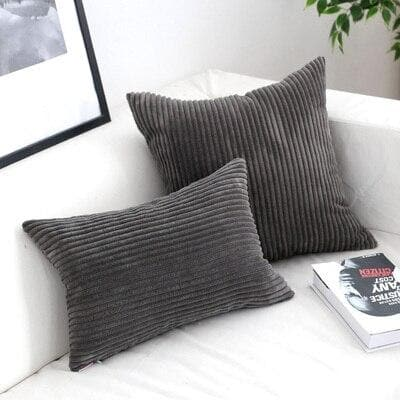 Corduroy Cushion Covers in Bright colors 17x17 24x24 Charcoal