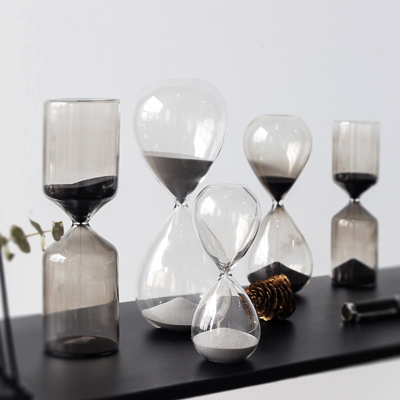 Sand Timer Hourglass geometric shapes black grey sand