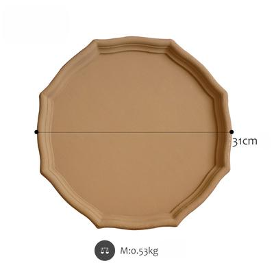 Wooden geometric shapes Matte light brown serving tray