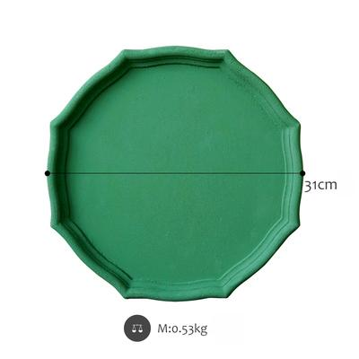 Wooden geometric shapes Matte green serving tray