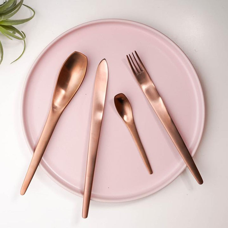 Modern Japanese Stainless Steel Cutlery Set rose gold