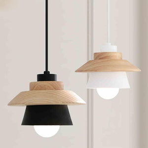 layered pendant led light with wood and metal