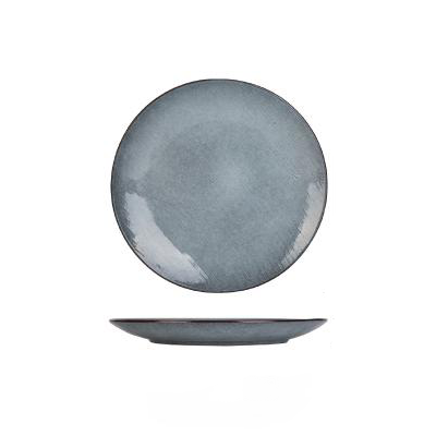Grey silver blue stripe pattern porcelain ceramic plate