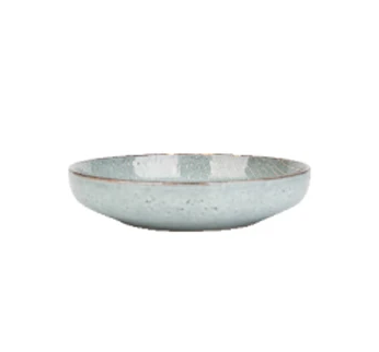 Grey silver blue stripe pattern porcelain ceramic deep plate