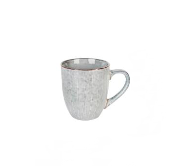 Grey silver blue stripe pattern porcelain ceramic cup