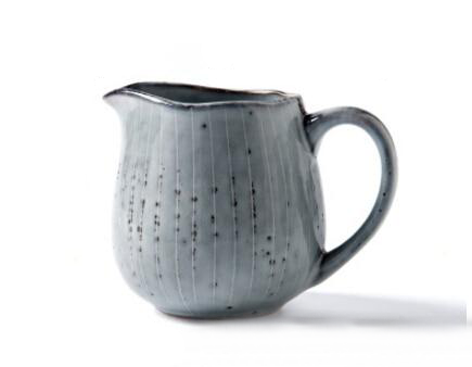 Grey silver blue stripe pattern porcelain ceramic teapot