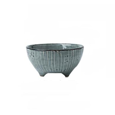 Grey silver blue stripe pattern porcelain ceramic bowl