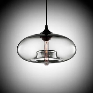 Modern Color Glass Sphere Metal Pendant Light Clear