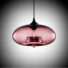Load image into Gallery viewer, Modern Color Glass Sphere Metal Pendant Light Pink