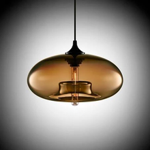 Load image into Gallery viewer, Modern Color Glass Sphere Metal Pendant Light Brown
