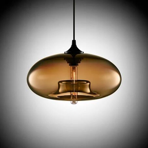 Modern Color Glass Sphere Metal Pendant Light Brown