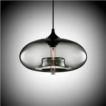 Load image into Gallery viewer, Modern Color Glass Sphere Metal Pendant Light Grey