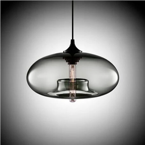 Modern Color Glass Sphere Metal Pendant Light Grey