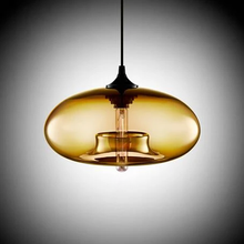 Load image into Gallery viewer, Modern Color Glass Sphere Metal Pendant Light Ochre
