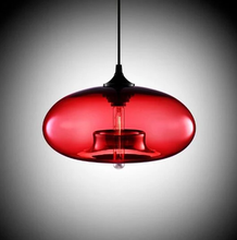 Load image into Gallery viewer, Modern Color Glass Sphere Metal Pendant Light Red