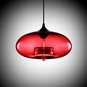 Modern Color Glass Sphere Metal Pendant Light Red