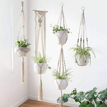 Load image into Gallery viewer, Boho Chic Hanging Planter for Modern Home Decor Hemp Canvas