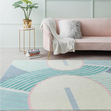 Load image into Gallery viewer, Modern Geometric Pattern Rug in Pastel Colors Blue Pink Aqua