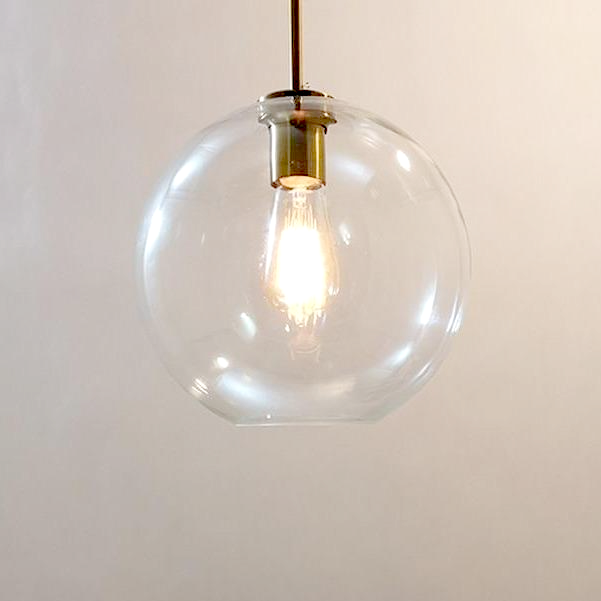 sphere globe brass metal clear glass canopy pendant light
