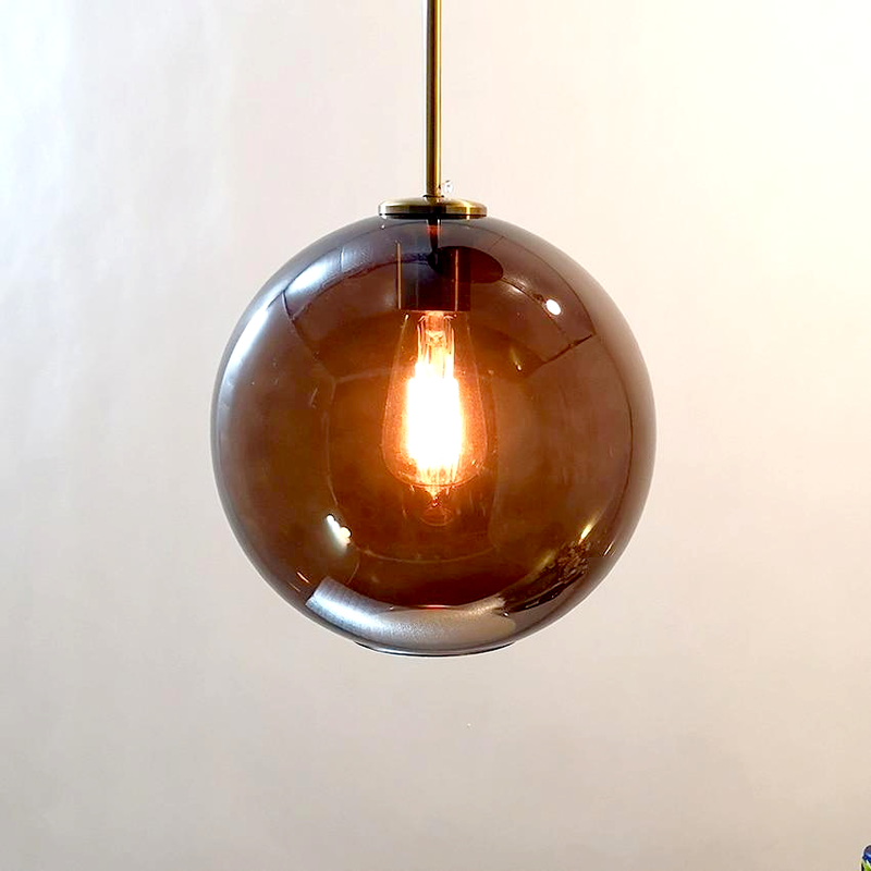 sphere globe brass metal brown tinted glass canopy pendant light