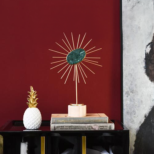 Boho Gold Metal Sun Sculpture with Precious Stone for Room Decor