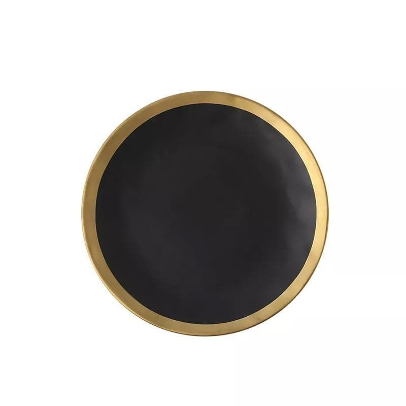 black bowl with gold rim