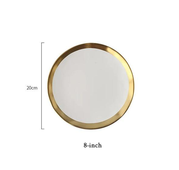 white plate with gold rim