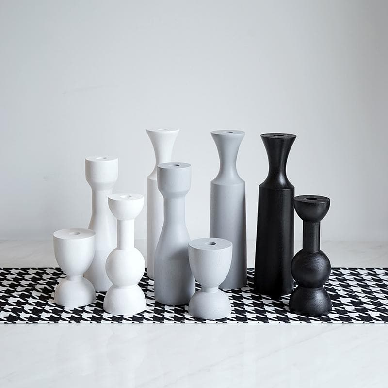 Monochrome White Grey Black Painted Wood Modern Candle Holders