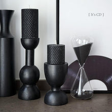 Load image into Gallery viewer, Monochrome White Grey Black Painted Wood Modern Candle Holders