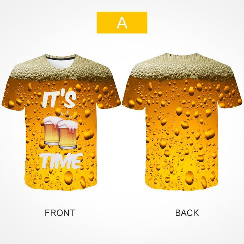 New Man Fashion 3D Print Beer Bubble Short Sleeve T-Shirt