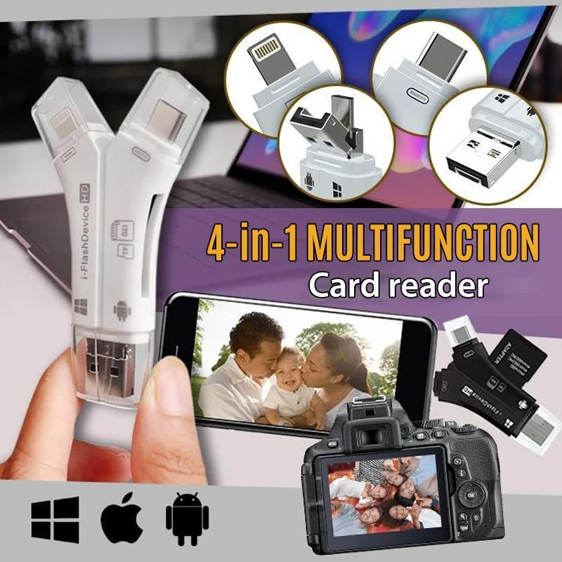 4-in-1 Portable Memory Card Reader For Phones