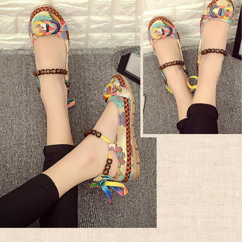 Retro Women Ethnic Colorful Loafers