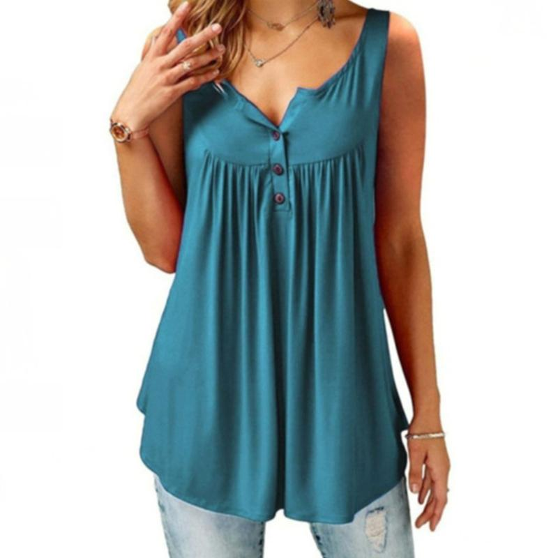 Comfy Loose Button Sleeveless Tank Top For Women