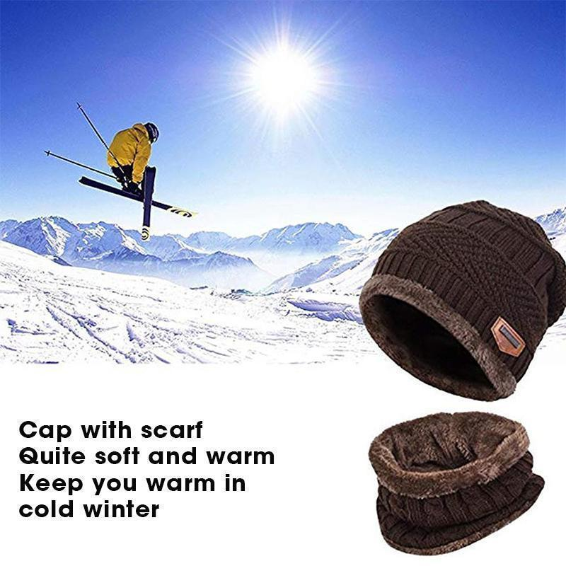 Warm Beanie Cap With Scarf