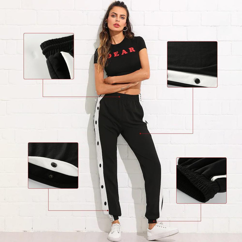 Side Snap Stripe Stitching Trousers
