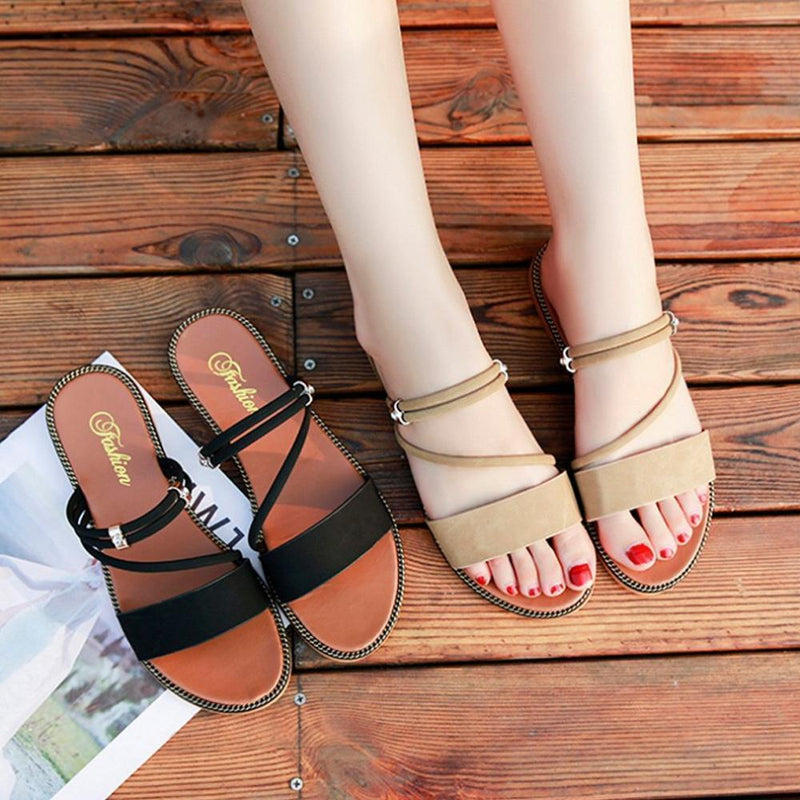 Seaside Flat Bottom Sandals Flower Elastic Sandals