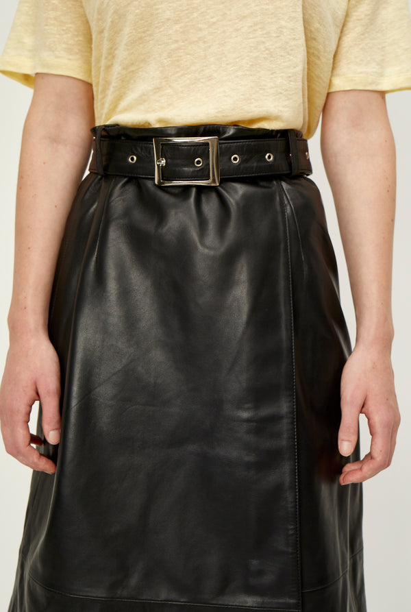 Mina leather wrap skirt