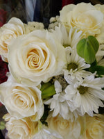 White roses - Floral bouquet - At Magdas Flower Shop in Salinas California.