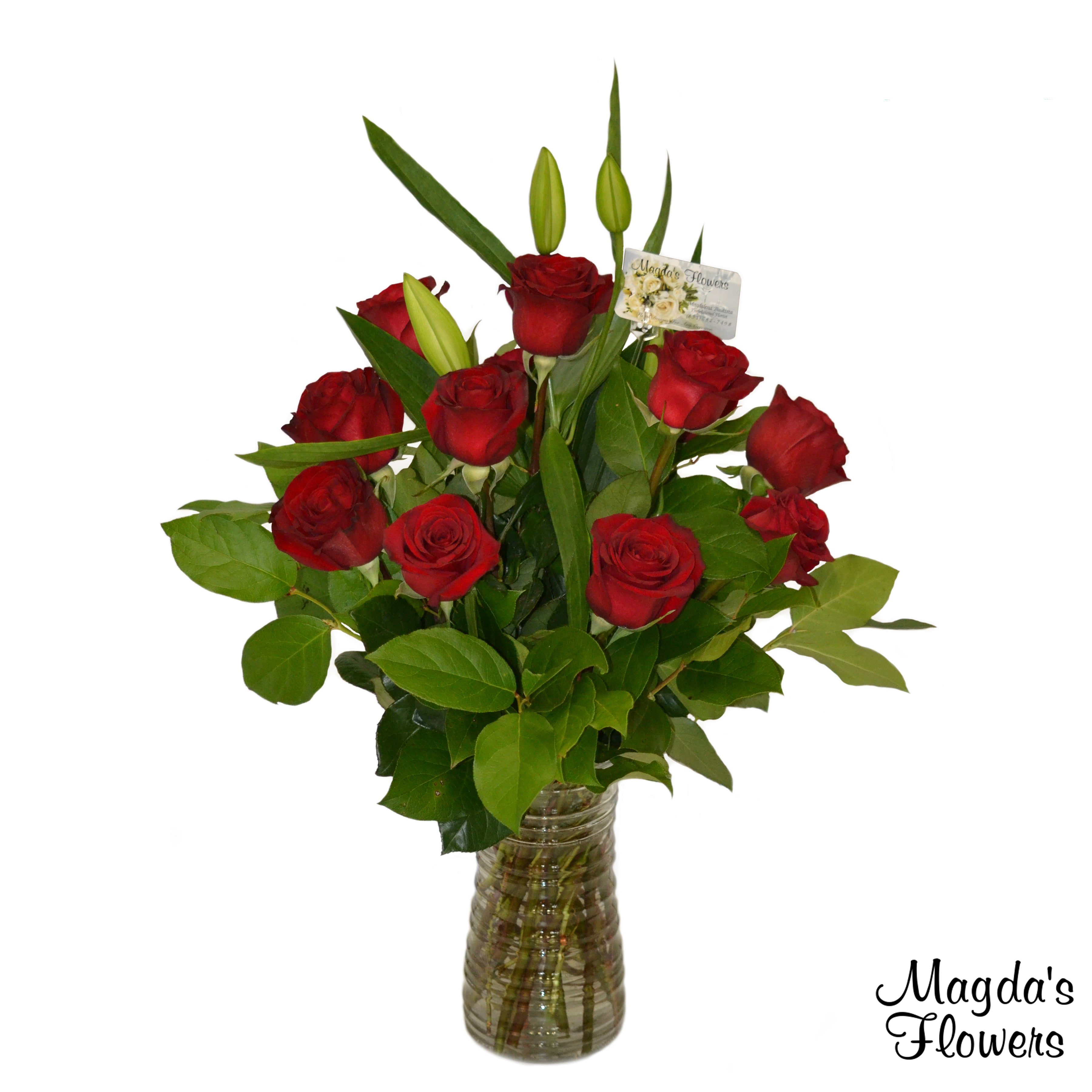 Dozen Red Roses in Clear Vase - Order Flowers Online - Salinas Florist, Local Delivery - Magda's Flowers
