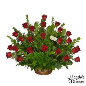 Red rose floral basket - Magdas Flowers Salinas - Local Deliveries.