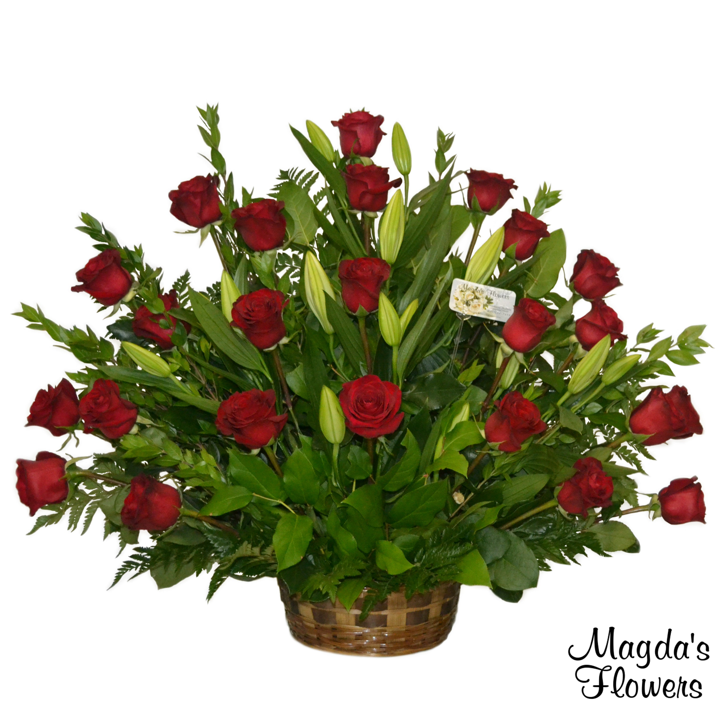Red Roses & Lilies Floral Basket