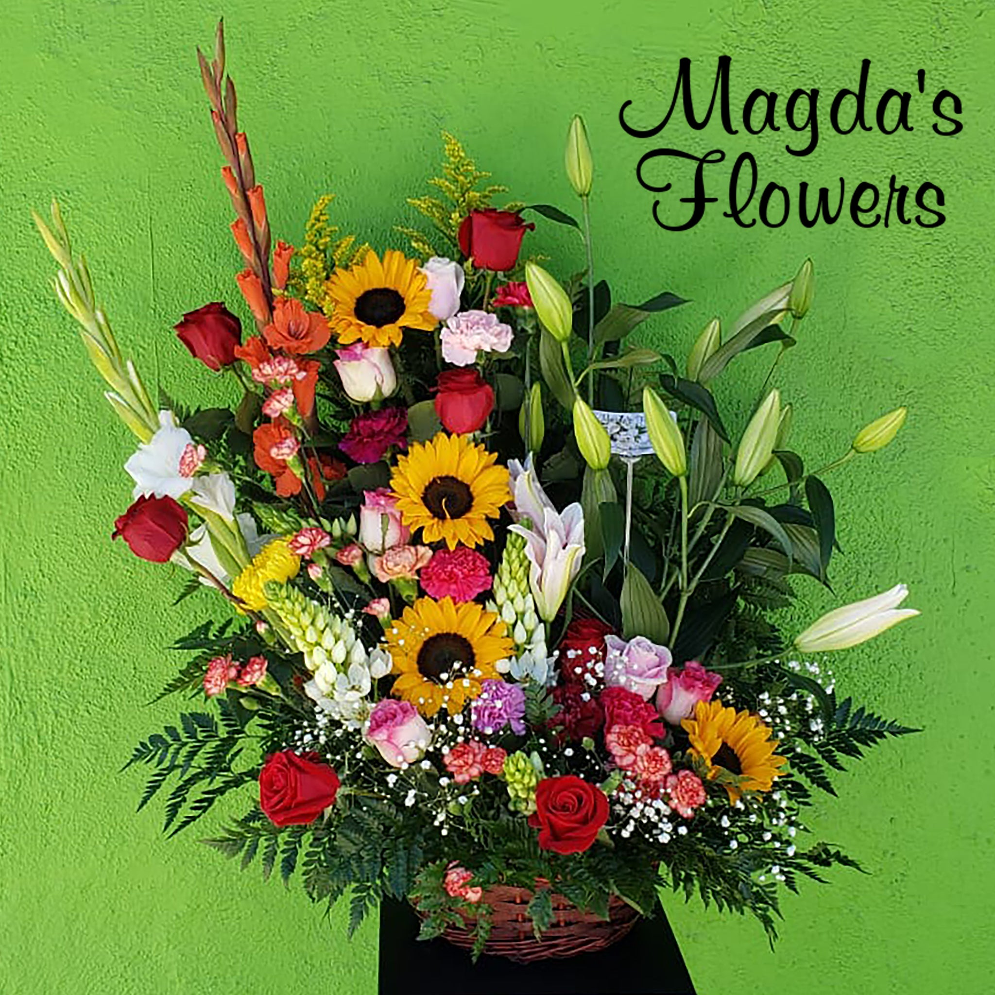 colorful gladiolas, roses, sunflowers, stargazer lilies, carnations, mums and more! Magdas Flowers, Salinas California.